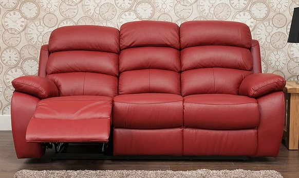 Picasso Reclining 3 Seater Leather Sofa Available In Red