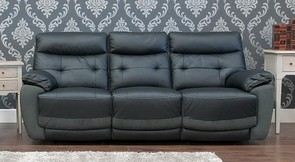 Reclining 3+2 Leather And Fabric Sofa Suite Available In Black And Dark Grey