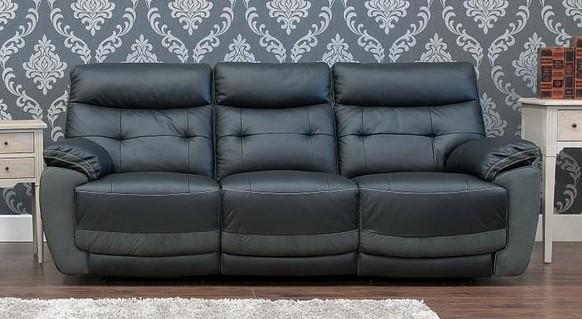 Bellini Reclining 3 Seater Leather And Fabric Sofa