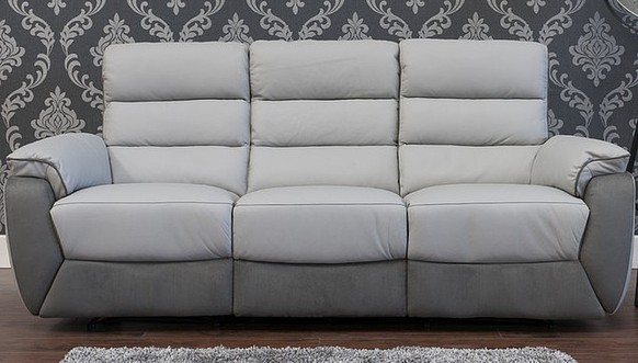 Ritz Reclining 3 Seater Leather And Fabric Sofa Available In Grey