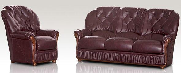 Rome 3 Seater + Armchair Genuine Italian Burgandy Leather