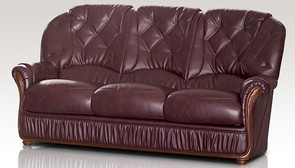 Alabama Genuine Italian Leather 3 Seater Sofa Settee Burgundy