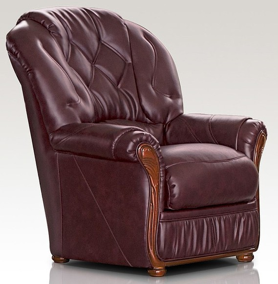 Neptune Range Genuine Italian Sofa Armchair Burgandy Leather
