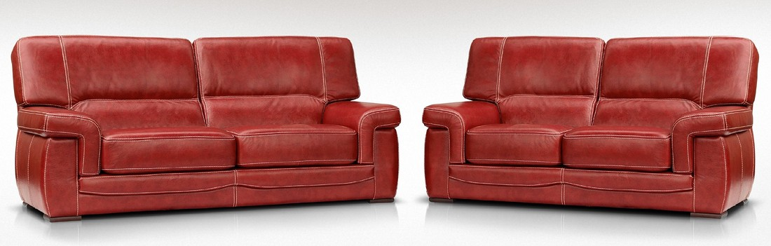 Siena 3 2 Italian Leather Red Settee Sofa Suite