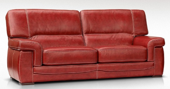 Siena 3 Seater Italian Leather Red Settee Sofa