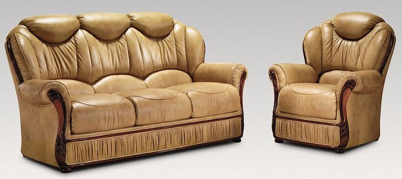Turin 3 Seater + Armchair Genuine Italian Nut Leather Sofa Suite Offer