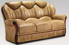 Turin 3 Seater Genuine Italian Nut Leather Sofa Settee Offer
