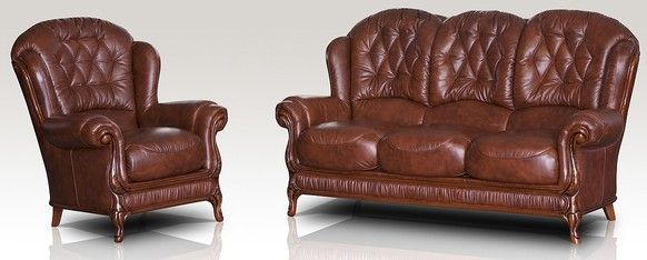 Arizona 3 Seater + Armchair Genuine Italian Tabak Brown Leather Sofa Suite Offer