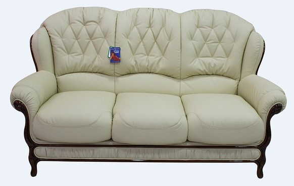 Jupiter Range Genuine Italian Leather 3 Seater Sofa Settee Cream