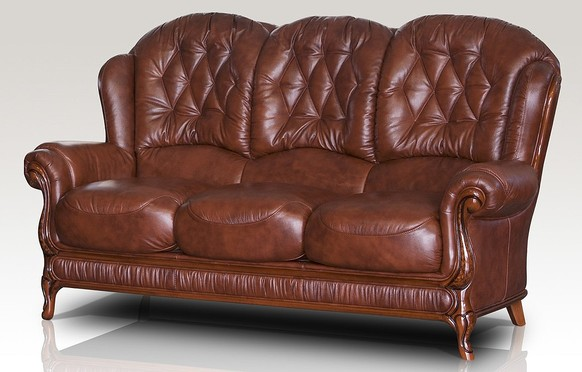 Venice Genuine Italian Leather 3 Seater Sofa Settee Tabak Brown