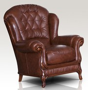 Venice Genuine Italian Sofa Armchair Tabak Brown Leather