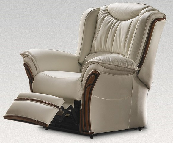 Verona Electric Reclining Armchair Sofa Genuine Italian Cream Leather Offer