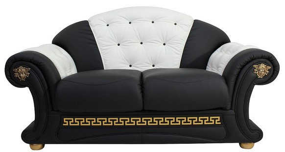 Versace 2 Seater Sofa Settee Genuine Italian Black White Leather Offer