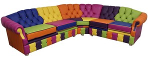 Victoria Patchwork Corner Chesterfield 3 Seater + Corner + 2 Seater Leather Sofa Settee