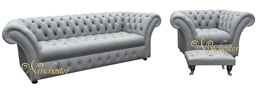 Chesterfield Grosvenor 3 Seater Armchair Footstool Sofa Settee Oned Seat Silver Birch Grey Leather Wc