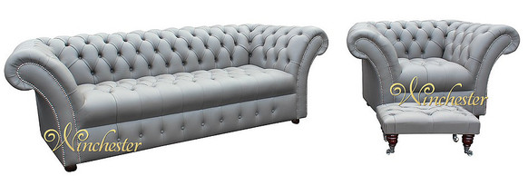 Chesterfield Grosvenor 3 Seater + Armchair + Footstool Sofa Settee Buttoned Seat Silver Birch Grey Leather