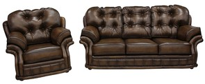 Chesterfield Knightsbridge 3+1 Seater Settee Traditional Sofa Suite Antique Tan leather