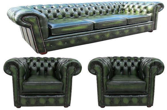 Chesterfield Leather 3 Seater / Club Chair / Club Chair Sofa Offer Antique Green