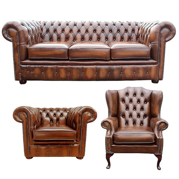 Chesterfield Leather 3 Seater + Mallory Wing Chair + Club Chair Sofa Offer Antique Tan