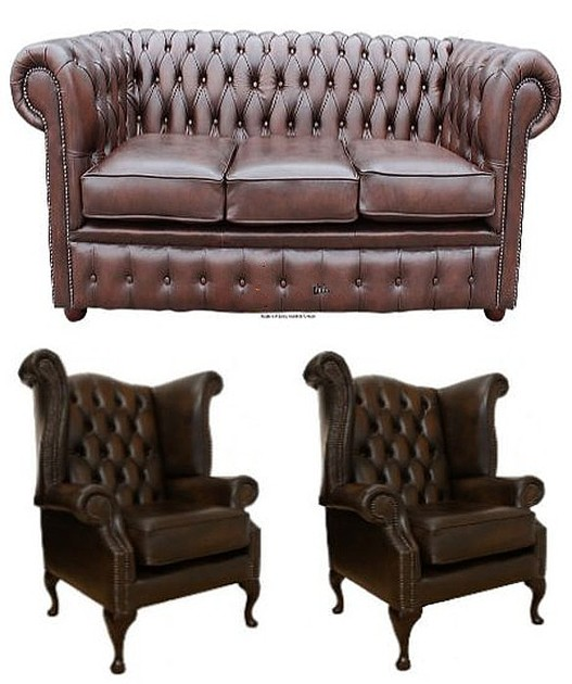 Chesterfield Leather 3 Seater / Wing Chair / Wing Chair ...
