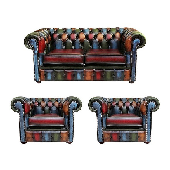 Chesterfield Patchwork Antique 2 Seater + 2 x Club Chair Leather Sofa Offer