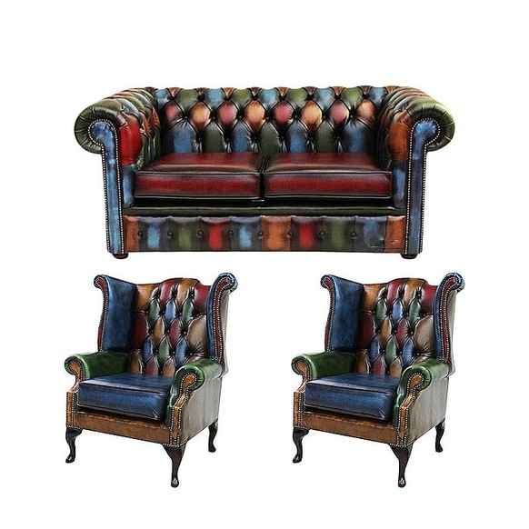 Chesterfield Patchwork Antique 2 Seater sofa + 2 x Queen anne chairs Leather Sofa Offer