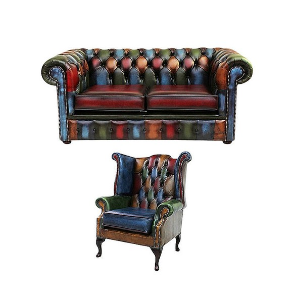 Chesterfield Patchwork Antique 2 Seater sofa + Queen anne chair Leather Sofa Offer