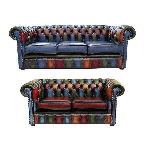 Chesterfield Patchwork Antique 3 Seater + 2 Seater Leather Sofa Offer