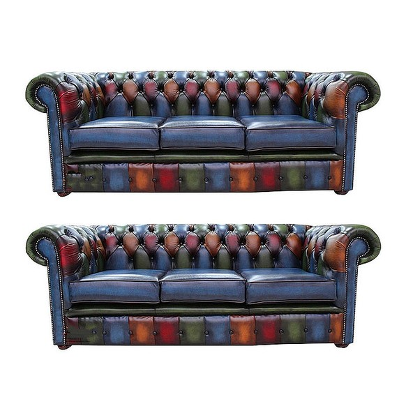 Chesterfield Patchwork Antique 3 Seater + 3 Seater Leather Sofa Offer