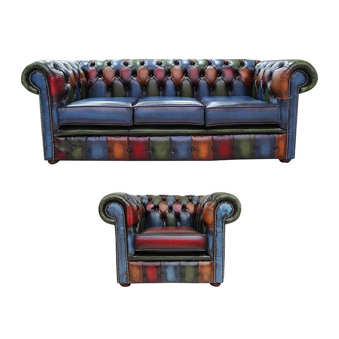 Marvelous Chesterfield Patchwork Antique 3 Seater Club Chair Leather Home Interior And Landscaping Sapresignezvosmurscom
