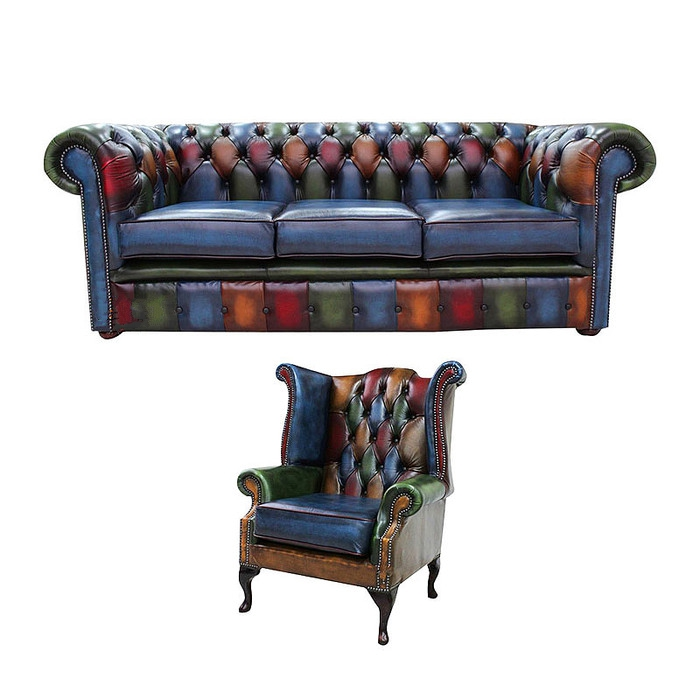 Chesterfield Patchwork Antique 3 Seater Sofa Queen Anne Chair Leather Offer