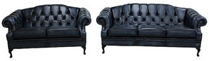 Victoria 3+2 Seater Chesterfield Leather Sofa Settee Antique Blue Leather