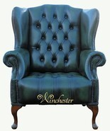 Chesterfield Mallory Buttoned Seat Flat Wing Queen Anne High Back Wing Chair UK Manufactured Antique Green