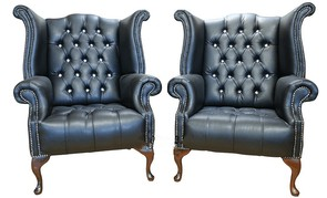2 x Chesterfield CRYSTALLIZED™ Elements Queen Anne High Back Wing Chair Black Leather