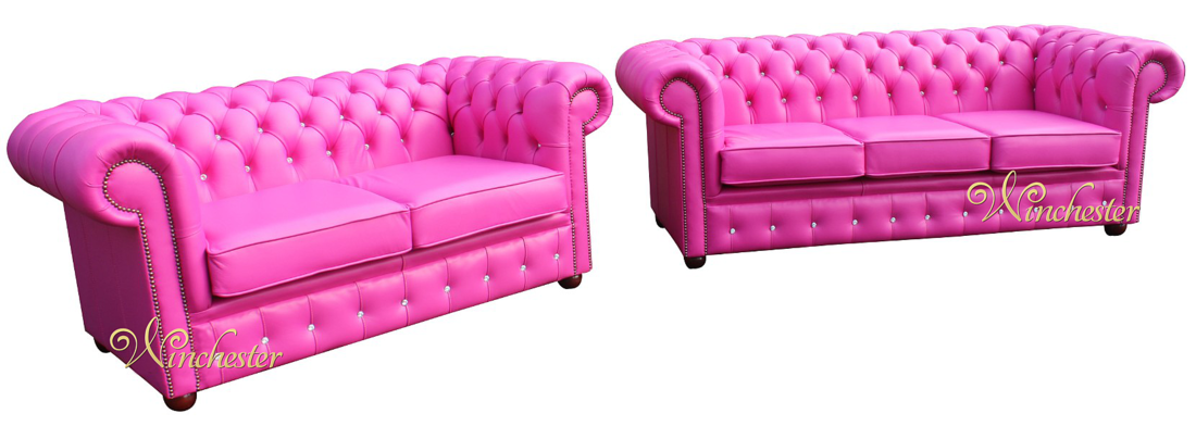 Pink Leather Sofas Wilma Powder Pink Leather Sectional