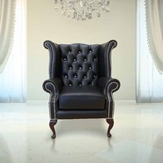 Chesterfield CRYSTALLIZED™ Elements Queen Anne High Back Wing Chair Black Leather