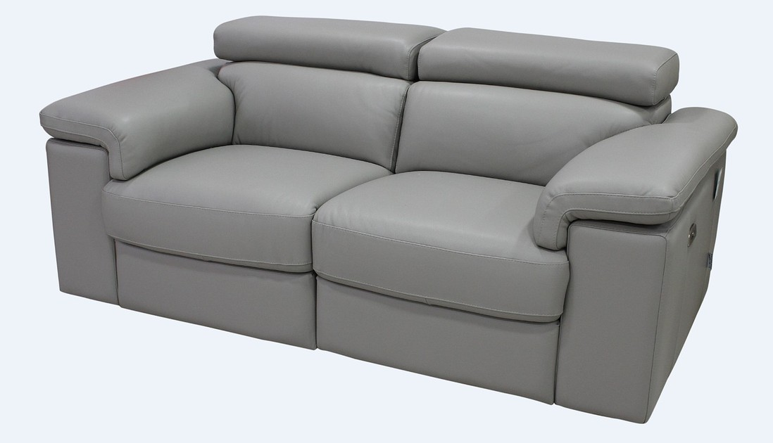 Sorrento Reclining 2 Seater Light Grey Italian Leather
