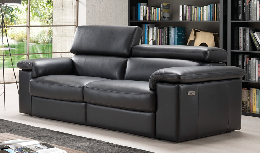 Sorrento Reclining 3 Seater Black Italian Leather