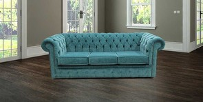 Chesterfield 3 Seater Settee Pimlico Teal Blue Sofa Offer