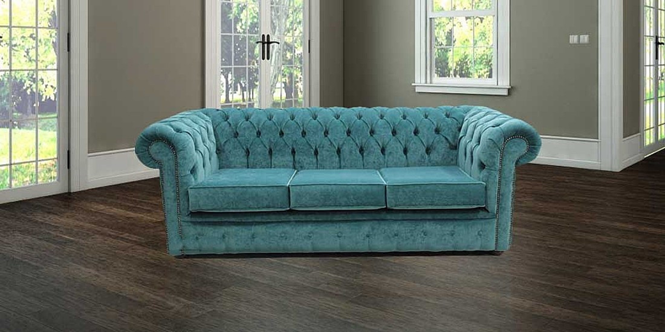 Chesterfield 3 Seater Settee Pimlico Teal Blue Sofa Offer Lo