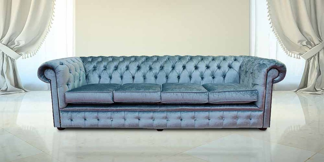 Chesterfield 4 Seater Settee Boutique Sky Velvet Fabric Sofa