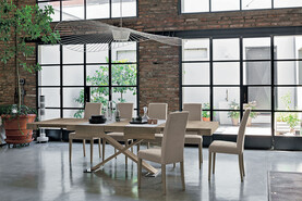 ASTERION 180 cm Extendible Table With Country Style Wood Effect Laminate Frame Synchro Texture Top