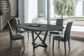 CRONOS 130 cm Extendable Table With Corda Painted Metal Structure Graphite Stoneware Top