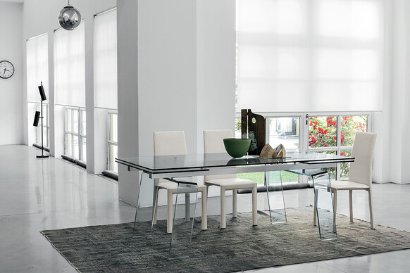 Crystal Plus 200 cm Extendable Dining Table Tempered Glass Top