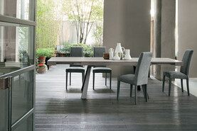 GRECALE 180 cm Extendable Table With Graphite Painted Metal Structure Beaver Synchro Texture Laminate Top