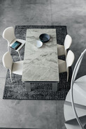 Hercules 180 cm Extendable Dining Table Arabesque Marble-Effect Stoneware Top