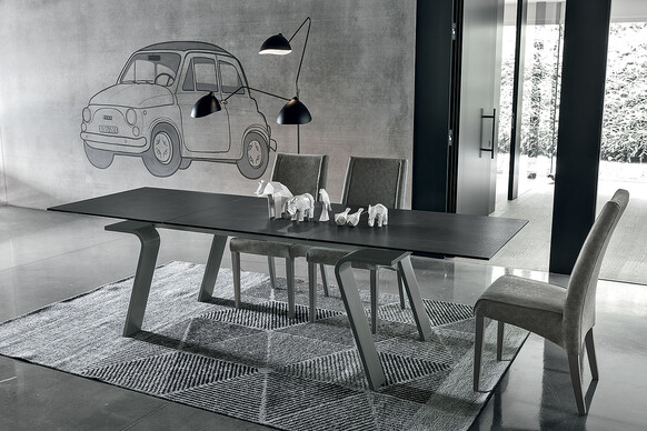 Hercules 180 cm Extendable Dining Table Graphite Stoneware Top