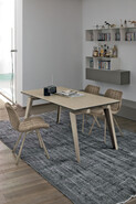 LIBECCIO 160 cm Extendable Table With Corda Painted Metal Structure Bamboo Stoneware Top