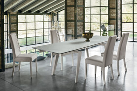 LIBECCIO 180 cm Extendable Dining Table With White Painted Metal Structure Marble Effect Stoneware Top
