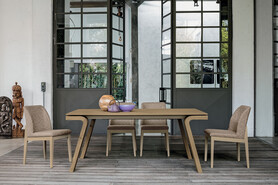 Maciste 180 cm Extendable Dining Table Coutry Veneered Legs And Wooden Top